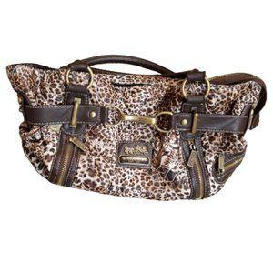 Coach Leopard Print Leather C Purse / Shoulder Bag